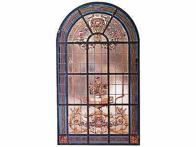 Leaded And Hand Painted Glass Panel Made In Iron #4963