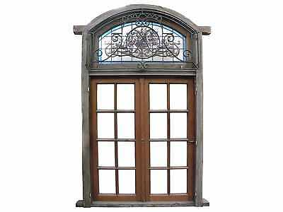Antique Double Wooden Window w/ Stained Glass Transom & Iron #D1197
