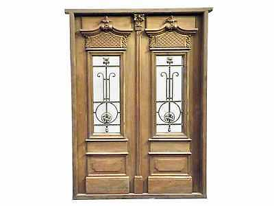 Antique Double Front Door w/ Hand Carved Details #B1208