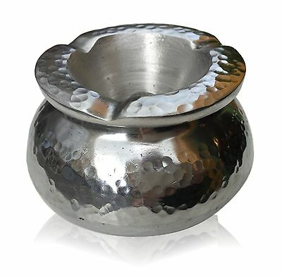 New Aluminium Metal Ashtray With Lid Moroccan Silver Garden Wind Proof Water