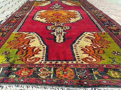 Fine Antique 1920s Greek Patterned 3'9''X7'4'' Tribal Wool Pile Natural Dyes Rug