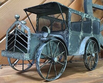 Metal Wagon Milk Truck Vintage Distressed Country Home Yard Garden Style