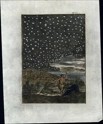 Starry night view Celestial image 1719 charming antique hand colored print