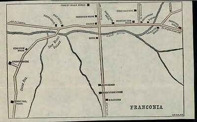 Franconia New Hampshire city plan c.1880's detailed charming scarce color map