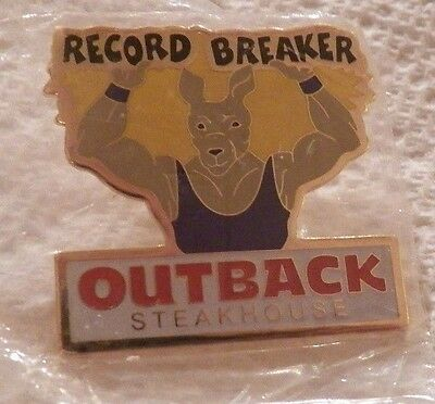 Record Breaker Outback Steakhouse Lapel Pin Kangaroo Weight Lifter Sealed