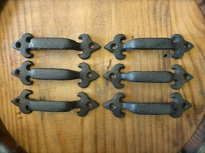 "6 BROWN ANTIQUE-STYLE 4.75"" RUSTIC LILY DRAWER DOOR CABINET PULLS HANDLE iron"