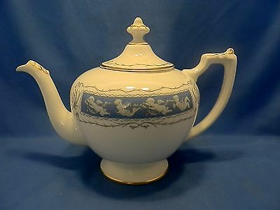 Coalport white bone china Revelry pattern teapot & lid, gold color highlights