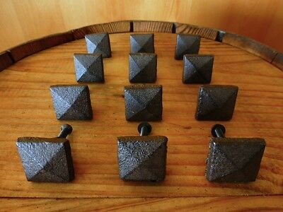"Set 12 Brown Square Shaped 1"" Drawer Door Cabinet Knobs Pulls Cast Iron Pyramid"