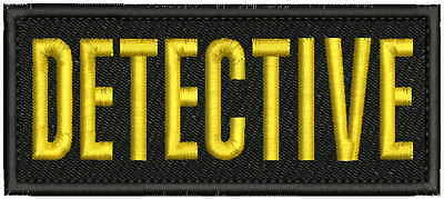 DETECTIVE embroidery patches 2x5 hook ON BACK gold
