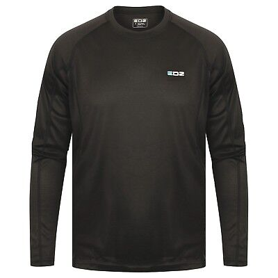 EDZ All Climate Wicking Motorcycle Base Layer Long Sleeve Crew Mens Black