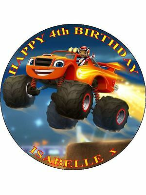 Blaze And The Monster Machines Personalized Icing Cake Topper's Various Sizes