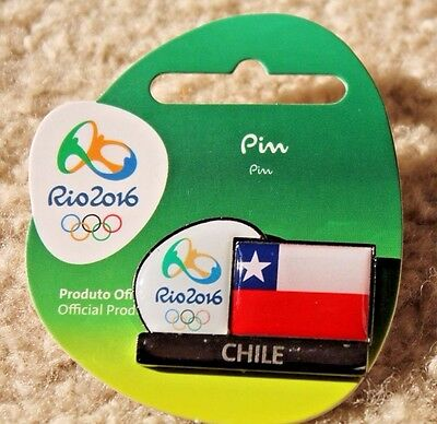 Rio 2016 Olympics Team CHILE flag PIN Badge Mint on Card - Very Rare!