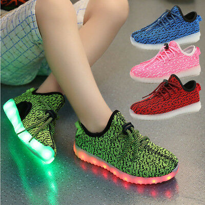 Breathable Boys Girls 7 LED Light Up Luminous Fabric Sneakers Kids Casual Shoes