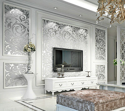 3D Silver Gray Non-Woven Textured Embossed Feature Wallpaper Rolls TV Background