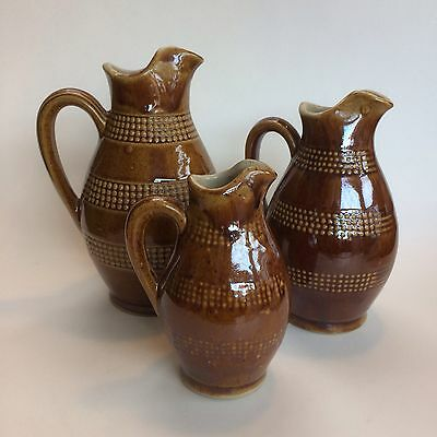 3 French Renault Pottery Cruets Pitchers Jugs Mint France Williams Sonoma