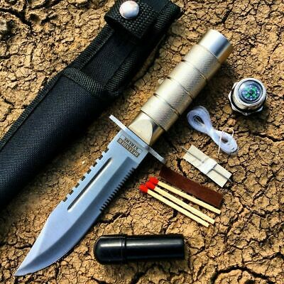 "8.5"" Hunting Knife Silver Nylon Sheath Rambo Combat Survival Kit Compass Fixed"