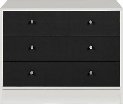 New Malibu 3 Drawer Wide Chest - Black on White.