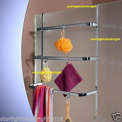 Towel Rack Bathroom Storage Organiser Caddy Holder Hanger Laundry Shower Screen