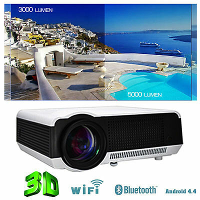 5000 Lumens HD 1080P 3D Android Home Cinema Theater Projector LED WIFI RJ45 HDMI