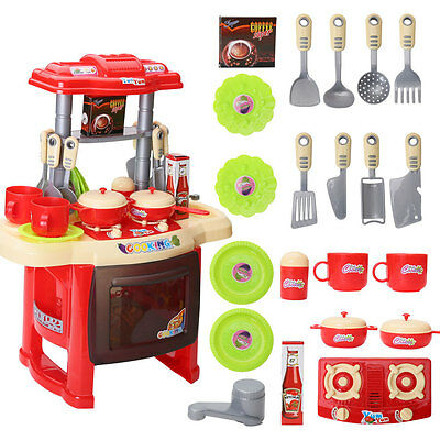 Portable Red Electronic Children Kids Kitchen Cooking Girl Toy Cooker Play Set