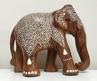 Large Handmade Carved Indian Wooden Elephant with Intricate Bone Inlay Work
