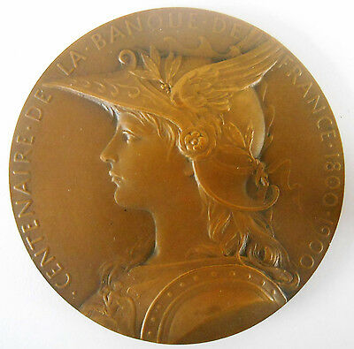 FRANCE-1900- BANQUE DE FRANCE- LARGE & SUPERB BRONZE MEDAL by ROTY-IN BOX