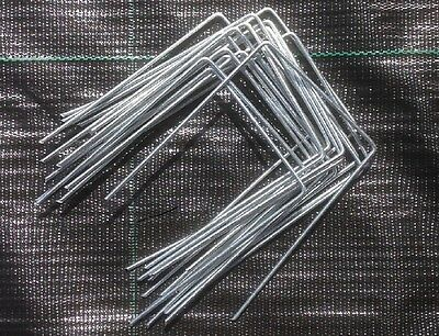 200 x GALVANIZED STEEL GROUND COVER  PEGS / WEED CONTROL ANCHOR PINS / STAPLES