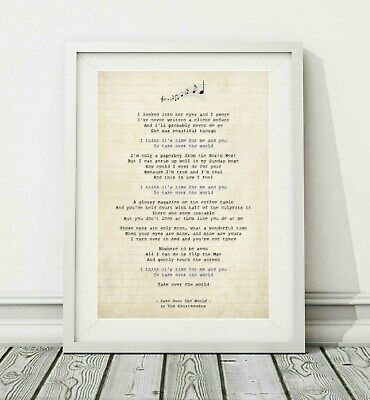 268 Courteeners - Take Over The World (v.2) - Song Lyric Poster Print - A4 A3