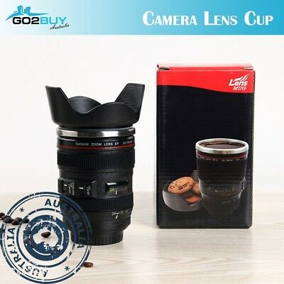 DSLR 24-105mm Camera Lens Cup Stainless Steel Coffee Tea Mug 400ML Drink Gift