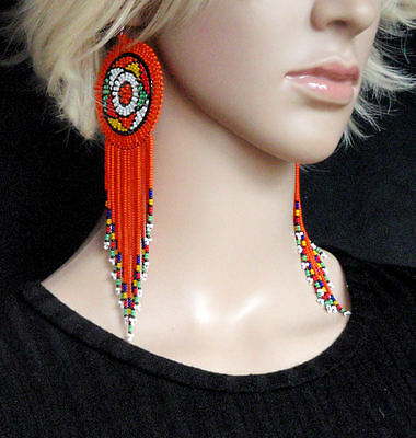 large African Zulu beaded earrings orange tassel colourful statement jewellery