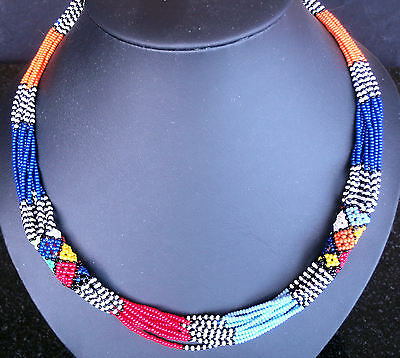 African tribal ethnic Zulu beaded jewellery necklace bright colours HANDMADE