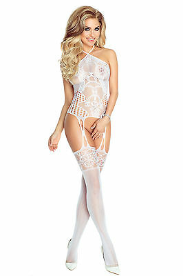Bodystocking Catsuit weiß 32 34 36 Reizwäsche Damen Dessous Erotik Body Netzbody