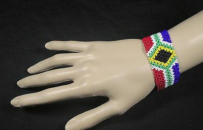 South African flag bracelet hand made tribal Zulu jewellery multi hypoallergenic