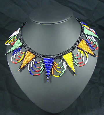 African tribal Zulu beaded jewellery choker necklace bright colours fair trade