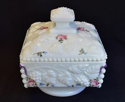 Vintage Westmoreland Milk Glass Handpainted Beaded Grape Lidded Candy Box