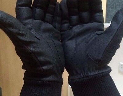 MENS ACE Leather Palm Winter Fleece Backed Horse Riding Gloves - all sizes
