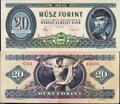 Hungary 1980 , 20 Forint , Banknote VF