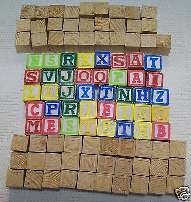 98 wooden blocks letters & math symbols 40 are painted 58 are plain used