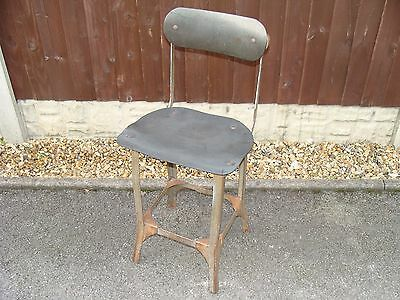 Industrial Vintage Metal Factory Workshop Machinist Desk  Chair