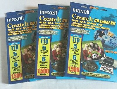 Maxell Create It -CD Label Kit (3 boxes) Easy to Use LK-1 Discontinued Model