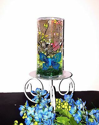 Reusable Gel Wax Candle with Green and Blue Butterflies & Branches