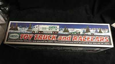 2003 Hess Toy Truck and 2 Racecars With Pull-Back Motors Head Tail Lights NIB
