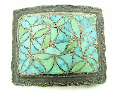 Old Pawn Zuni Signed Green Blue Turquoise Inlay Sterling Silver Belt Buckle