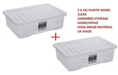 2 x 32L Litre Underbed Plastic Storage Clear Box Stack Container + LIDS UK MADE
