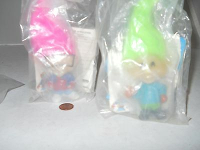 "Lot of 2 - 3.5"" Burger King Kid's Club Glow In the Dark Trolls New In Packaging"