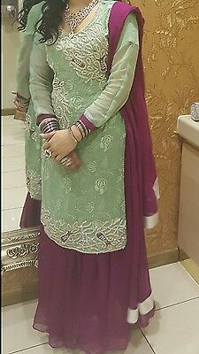 Latest pakistani/ indian style 2 in 1 with shalwar and skirt as well