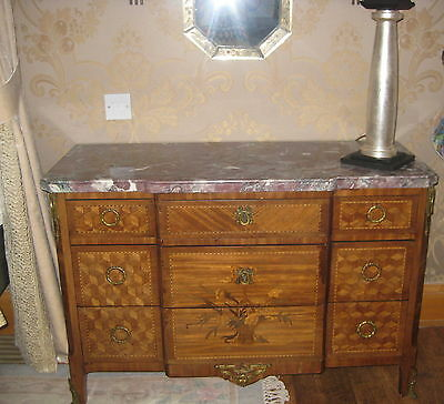 Vintage Marble Topped Inlaid Bedside Chest of Drawers Commode