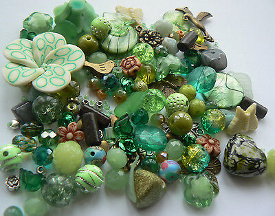 Starter Kit Mixed Beads for Jewellery Making 'Nature' Green 100 beads (65g bag)