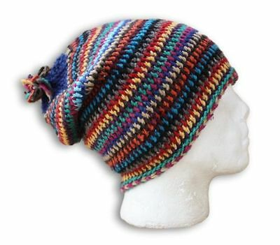 Slouch Beanie Hat Funky Colours Hand Knitted In Morocco Wool Ski Skate Snowboard