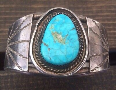 Gorgeous Vintage Heavy/tall Navajo Spiderweb Turquoise & Sterling Bracelet
